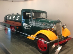 The original Hess oil tanker truck in the lobby of the Corporate Headquarters in Woodbridge, NJ. Hess was renowned for their retail Christmas toy oil truck releases