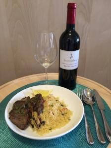 Grilled rosemary baby lamb chops and couscous