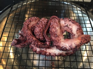 poached 1/2 of an octopus cooling down